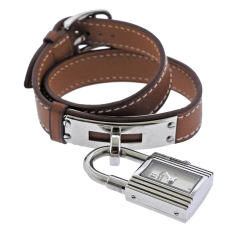 Hermes Kelly Steel Brown Wrap Bracelet Watch KE1.210