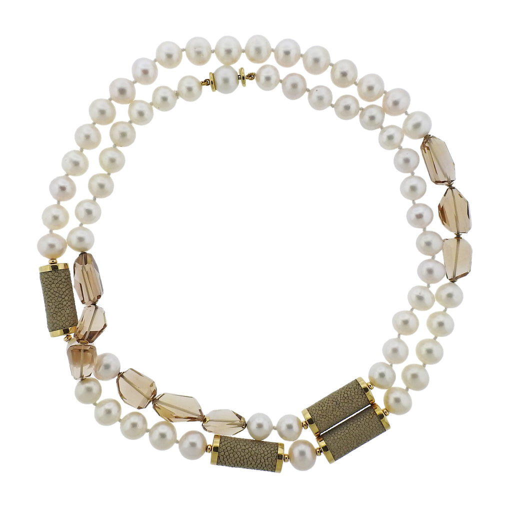 thumbnail image of Estate Trianon 18K Gold Long Pearl Topaz Necklace