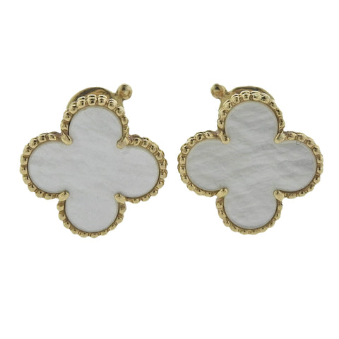 image of Van Cleef & Arpels Vintage Alhambra Mother of Pearl Gold Earrings