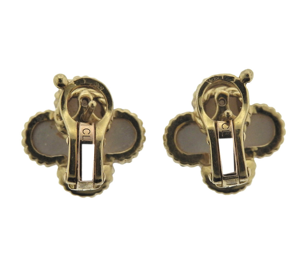 thumbnail image of Van Cleef & Arpels Vintage Alhambra Mother of Pearl Gold Earrings
