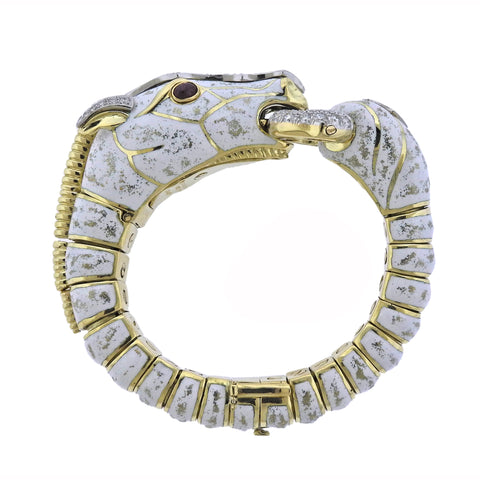 image of David Webb Diamond Ruby Enamel Gold Platinum White Horse Bracelet