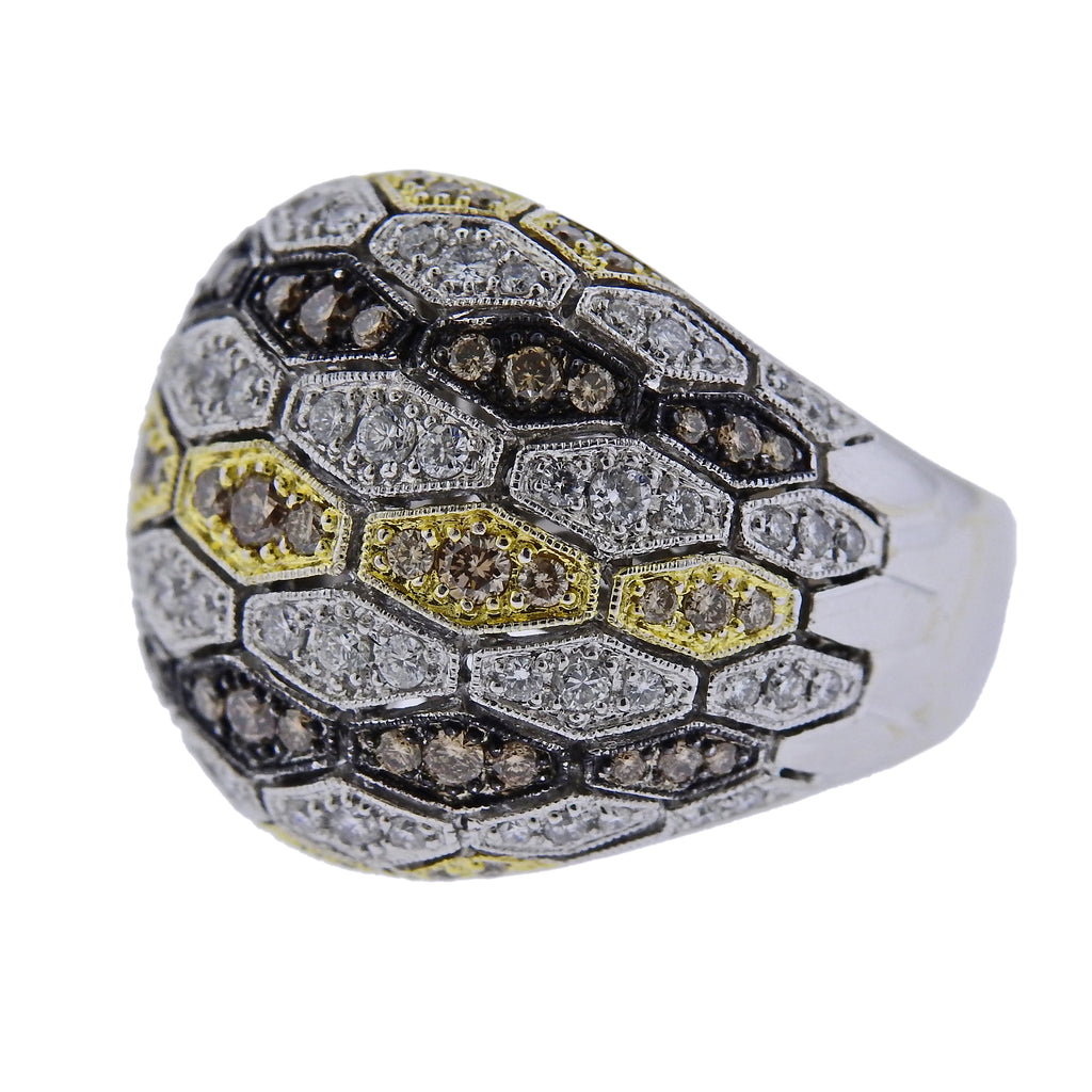 thumbnail image of Sonia B 18k Gold Multi Color Diamond Dome Ring