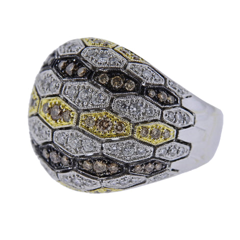 image of Sonia B 18k Gold Multi Color Diamond Dome Ring