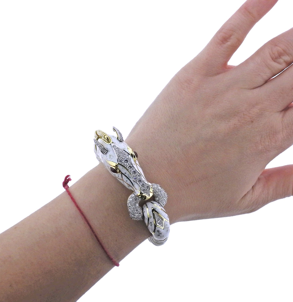 thumbnail image of David Webb Diamond Ruby Enamel Gold Platinum White Horse Bracelet