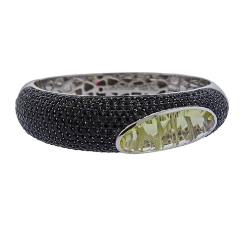 image of Roberto Coin Capri Plus Lemon Quartz Black Sapphire Gold Bracelet