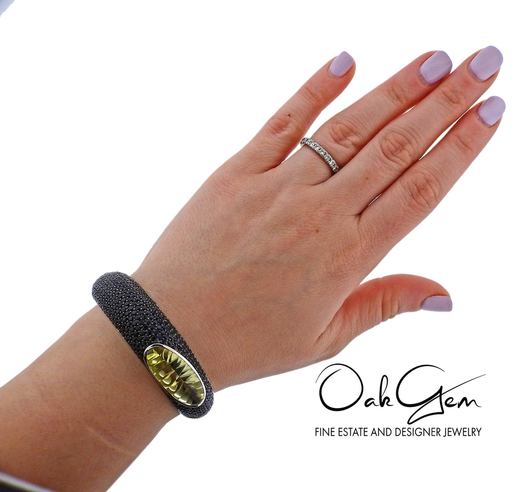 thumbnail image of Roberto Coin Capri Plus Lemon Quartz Black Sapphire Gold Bracelet