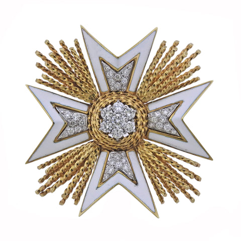 Montclair Gold Diamond Enamel Maltese Cross Brooch Pin