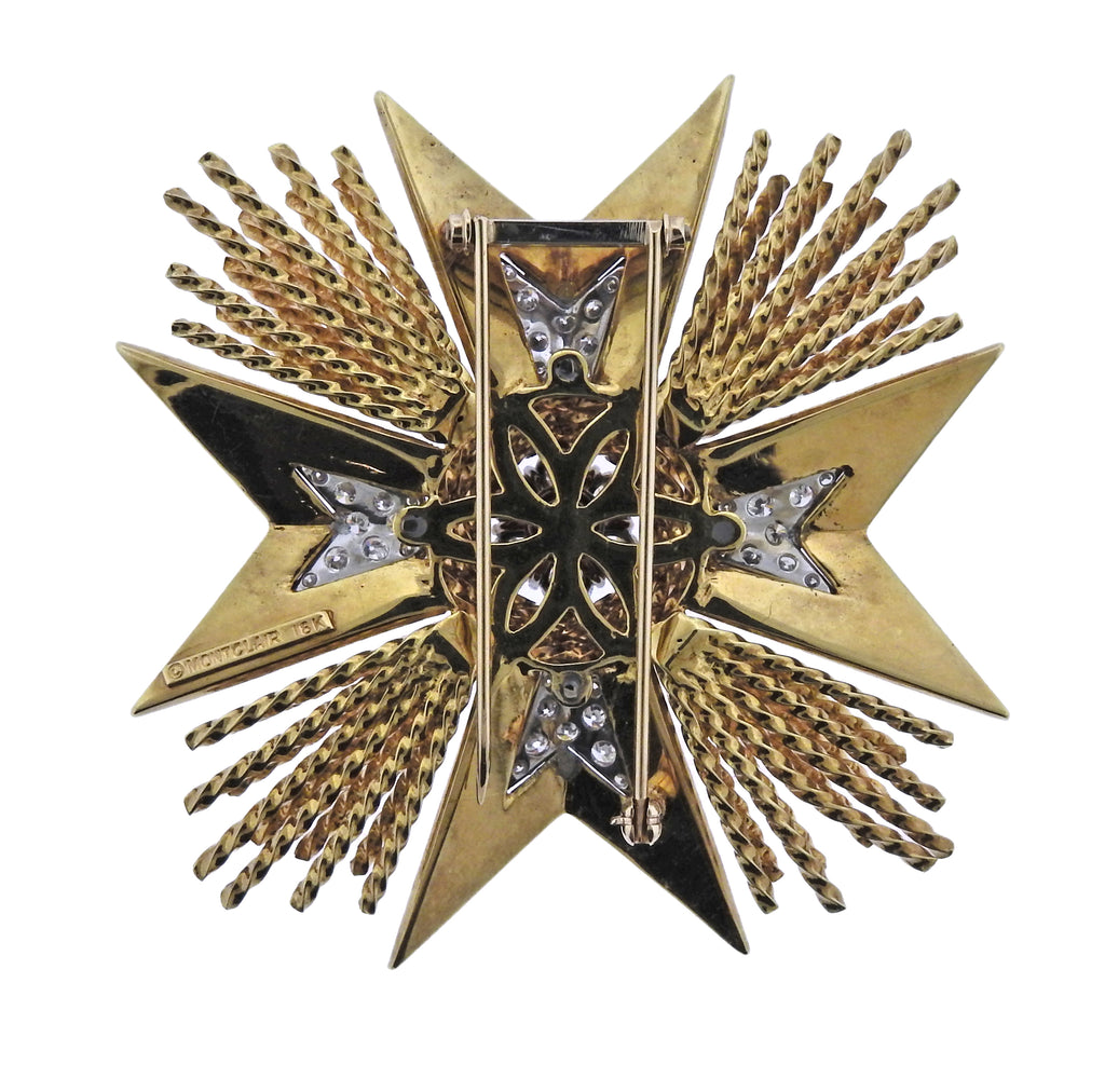 thumbnail image of Montclair Gold Diamond Enamel Maltese Cross Brooch Pin