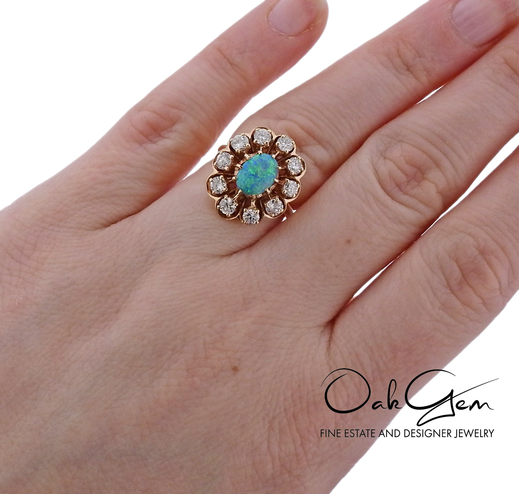 14k Gold Diamond Opal Cocktail Ring