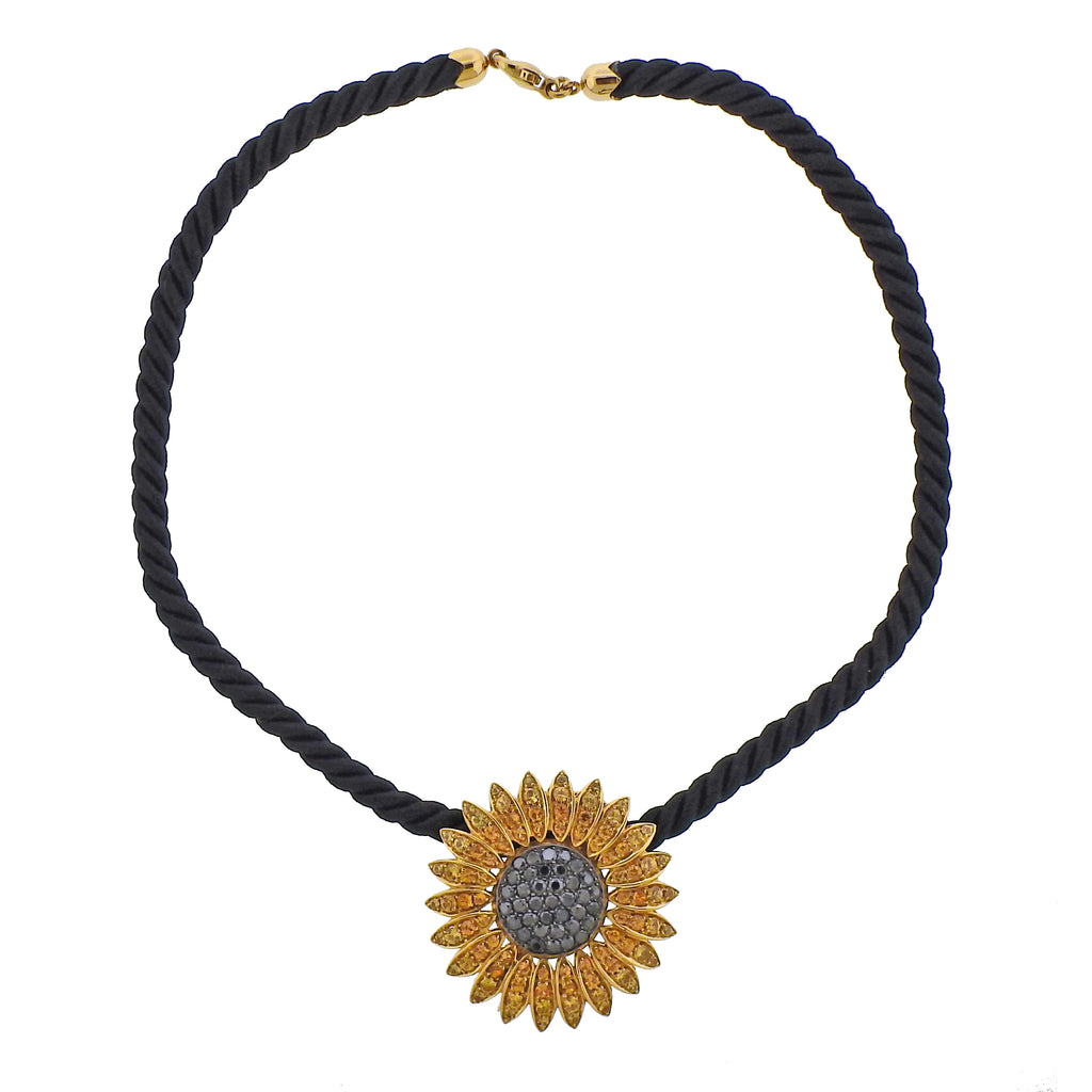 thumbnail image of De Grisogono Diamond Sapphire Gold Sunflower Brooch Pendant on Cord