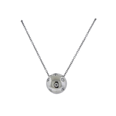 image of Tiffany & Co Etoile Diamond Platinum Ball Pendant Necklace