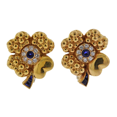 image of Fred Paris 18k Gold Diamond Sapphire Flower Earrings