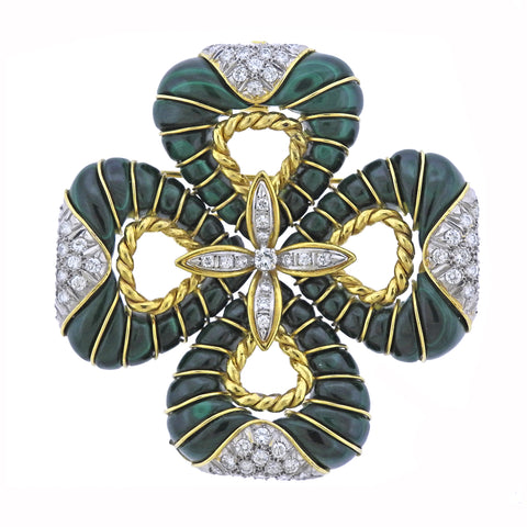 Gold Malachite Diamond Pendant Brooch