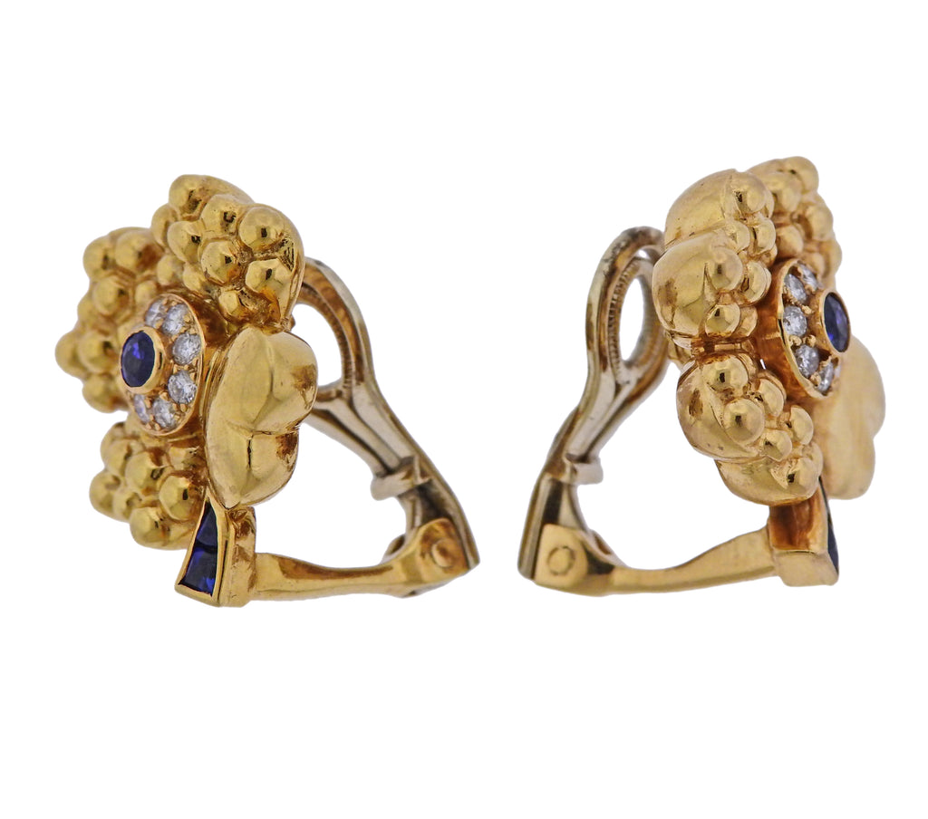 thumbnail image of Fred Paris 18k Gold Diamond Sapphire Flower Earrings