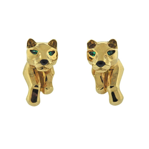 image of Cartier Panthere Gold Emerald Earrings