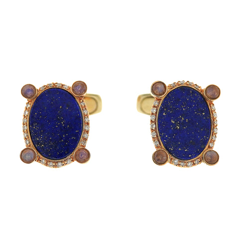 Favero 18k Gold Diamond Lapis Cufflinks