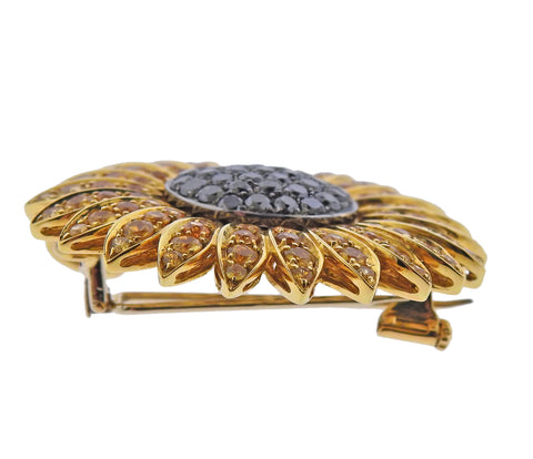 image of De Grisogono Diamond Sapphire Gold Sunflower Brooch Pendant on Cord
