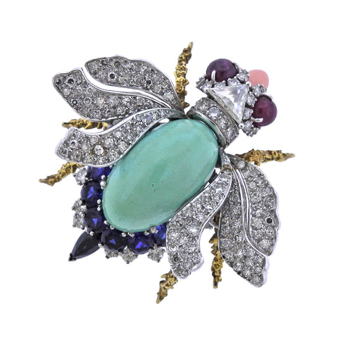 image of Gold Platinum Ruby Diamond Sapphire Insect Brooch