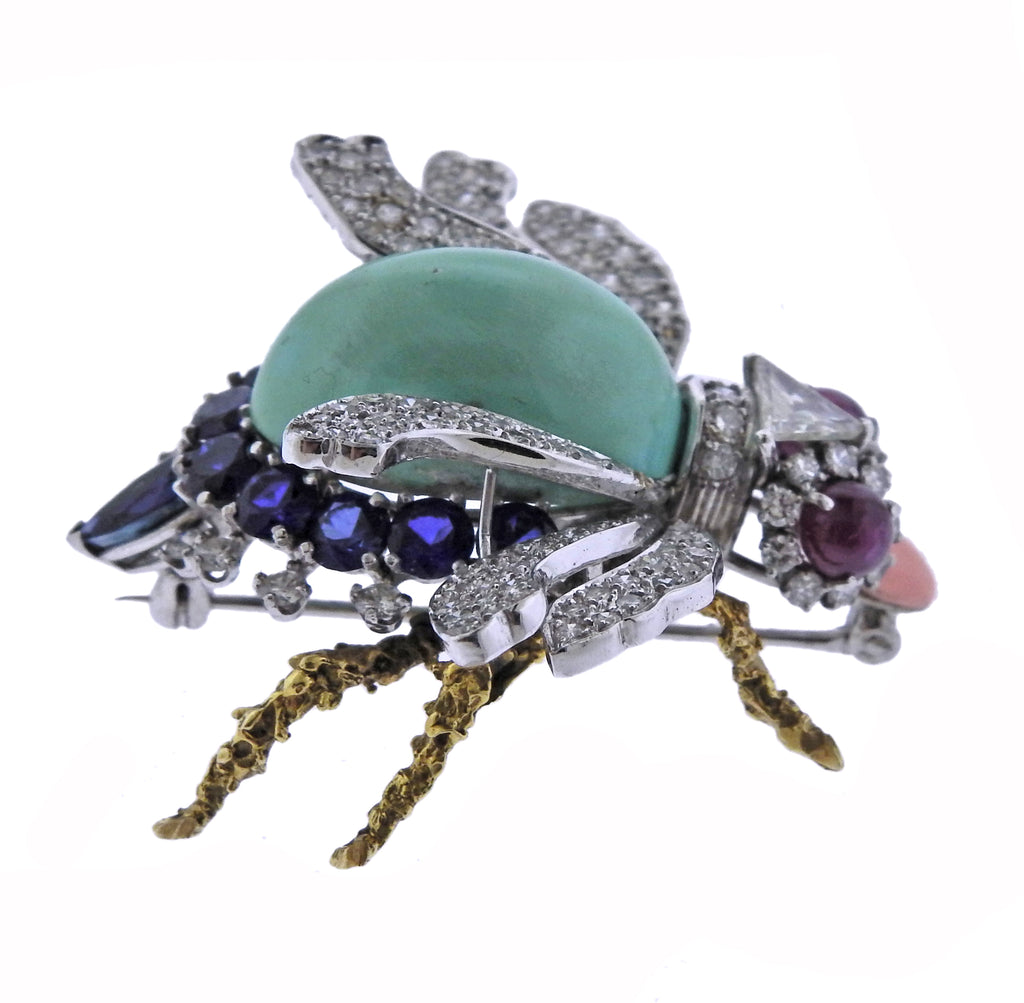thumbnail image of Gold Platinum Ruby Diamond Sapphire Insect Brooch