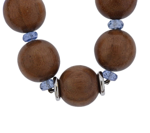 image of Trianon 18k Gold Wood Bead Topaz Necklace