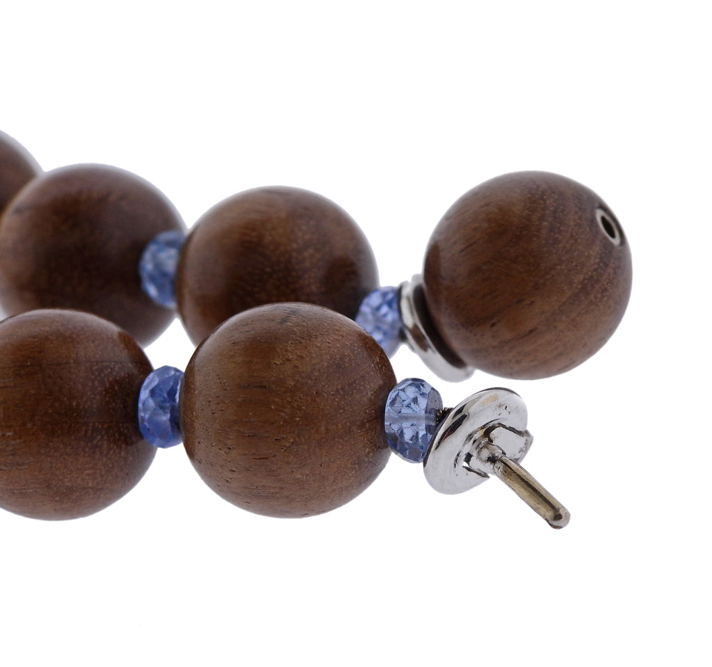 thumbnail image of Trianon 18k Gold Wood Bead Topaz Necklace