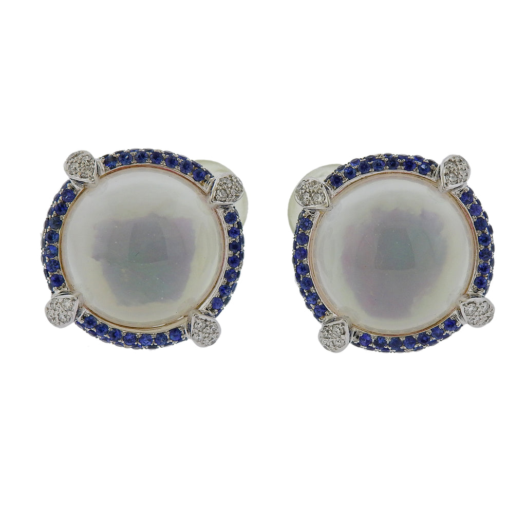 thumbnail image of Seaman Schepps Diamond Sapphire Crystal Gold Earrings
