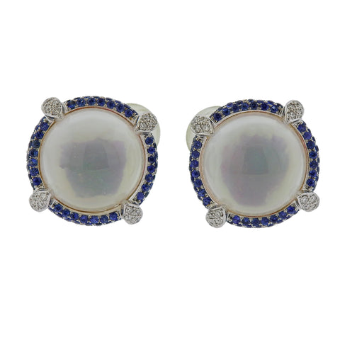 image of Seaman Schepps Diamond Sapphire Crystal Gold Earrings