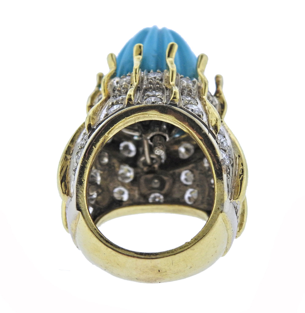 thumbnail image of Gold Turquoise Diamond Cocktail Ring