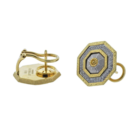 image of Buccellati Prestigio Diamond Octagon Gold Earrings