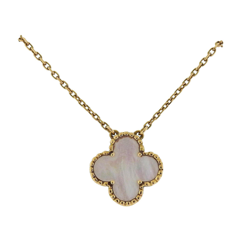 thumbnail image of Van Cleef & Arpels Vintage Alhambra Mother of Pearl Gold Pendant Necklace