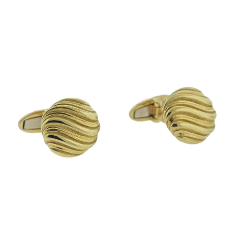 image of Buccellati Prestigio Wave Motif Yellow Gold Cufflinks