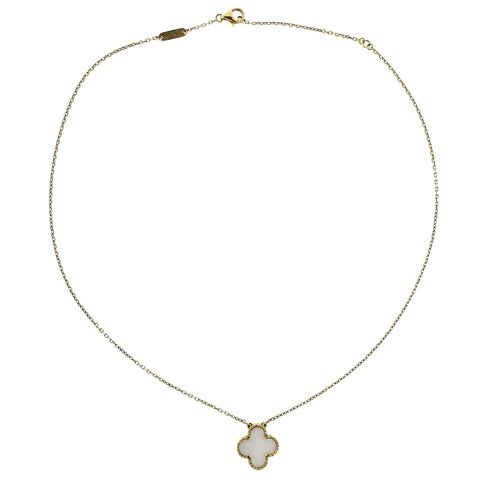 image of Van Cleef & Arpels Vintage Alhambra Mother of Pearl Gold Pendant Necklace