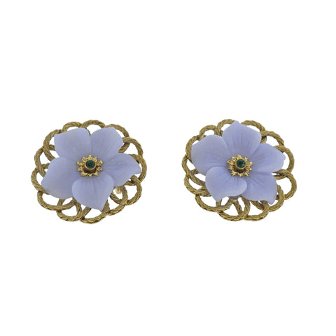 image of Buccellati Carved Chalcedony Emerald Gold Flower Earrings