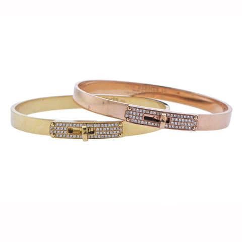 Hermes Kelly Gold Diamond Bangle Bracelet Set