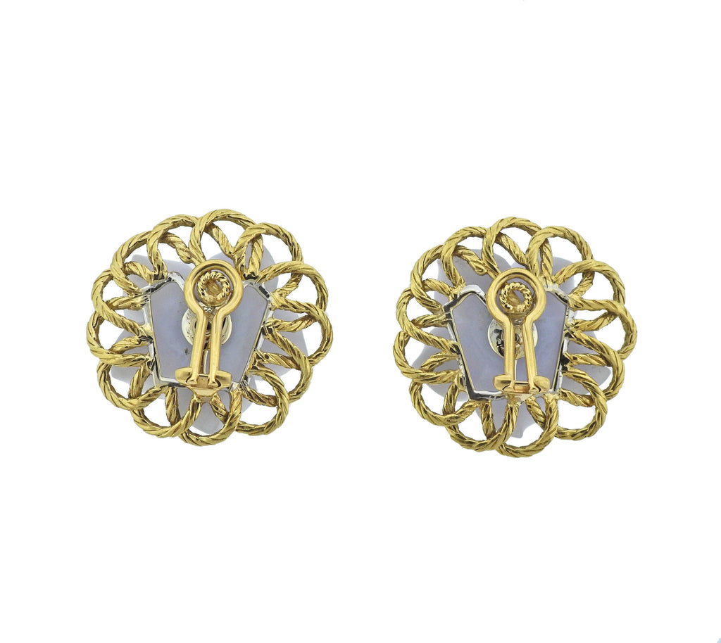 thumbnail image of Buccellati Carved Chalcedony Emerald Gold Flower Earrings