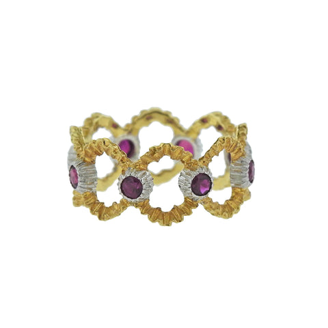 image of Buccellati Openwork Gold Ruby Band Ring
