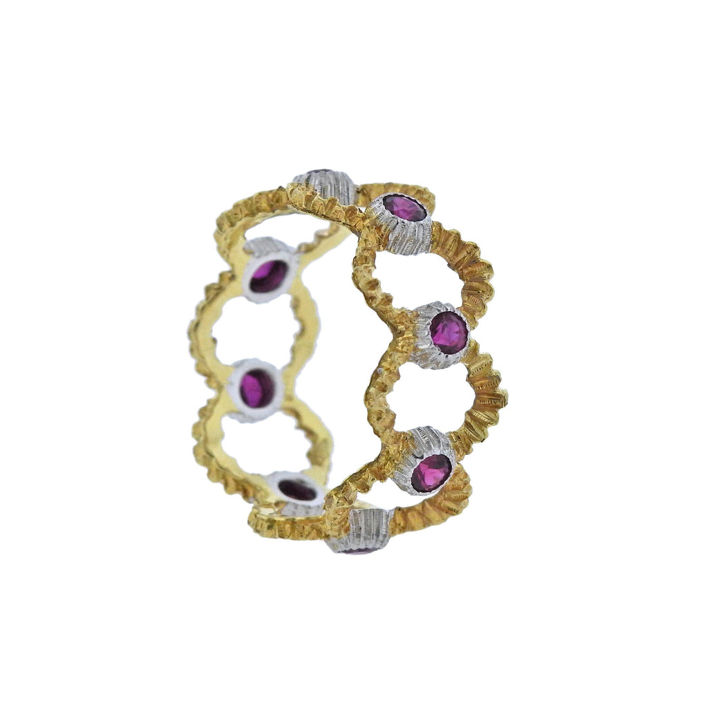 thumbnail image of Buccellati Openwork Gold Ruby Band Ring