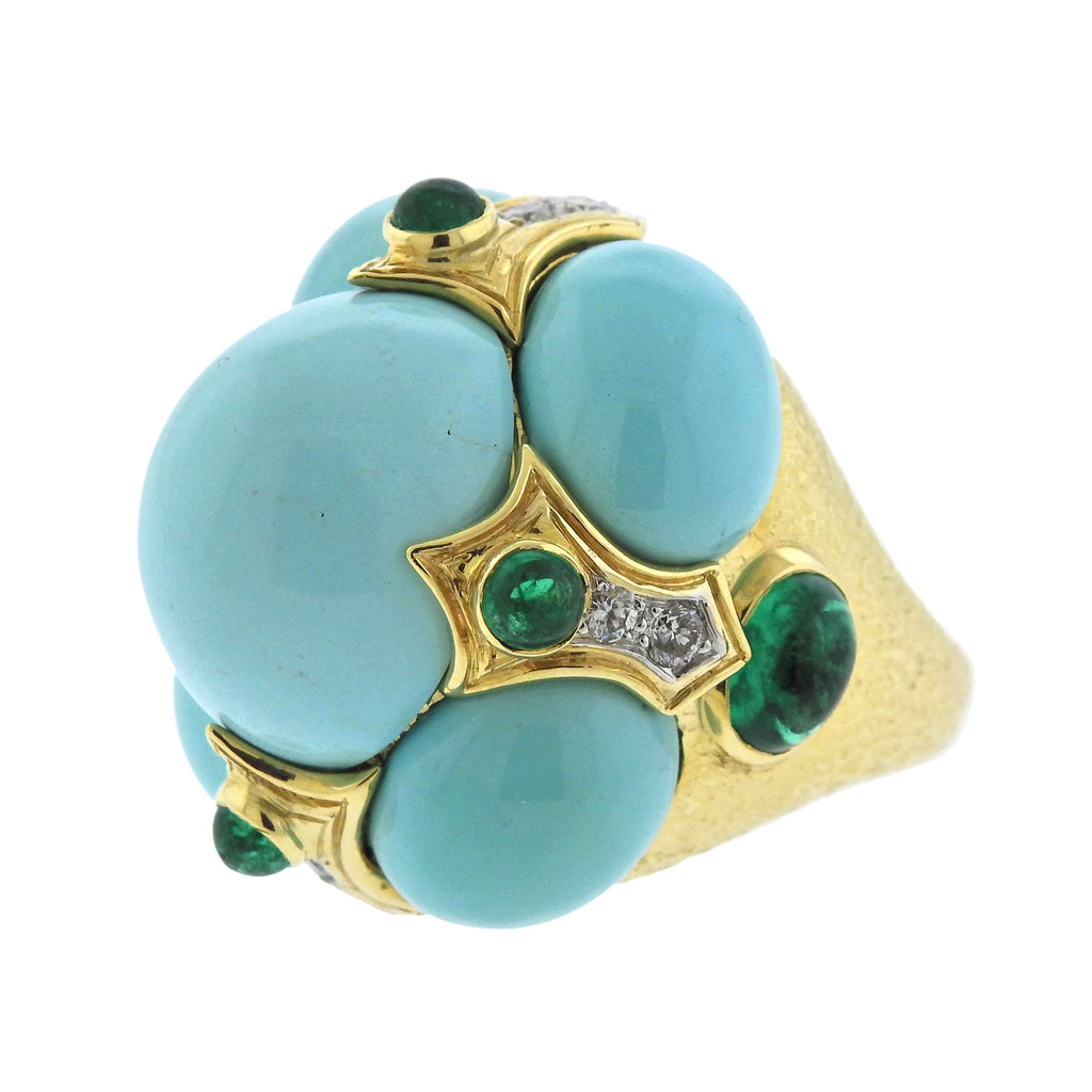 thumbnail image of David Webb Turquoise Emerald Diamond Gold Platinum Turban Ring