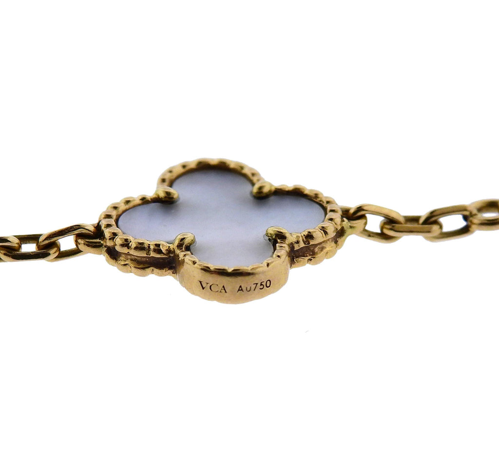 thumbnail image of Van Cleef & Arpels Vintage Alhambra Mother of Pearl Gold Bracelet