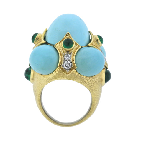 image of David Webb Turquoise Emerald Diamond Gold Platinum Turban Ring