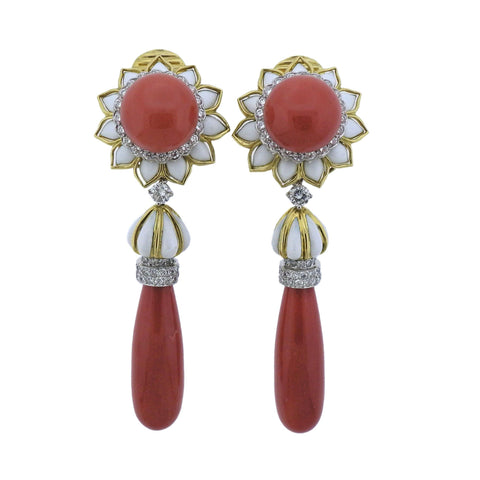 image of David Webb Coral Diamond Platinum Gold Day & Night Earrings