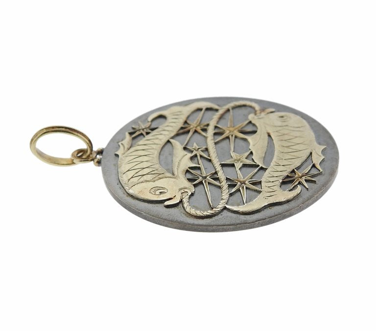 thumbnail image of Buccellati Pisces Zodiac Sign Gold Silver Medallion Pendant