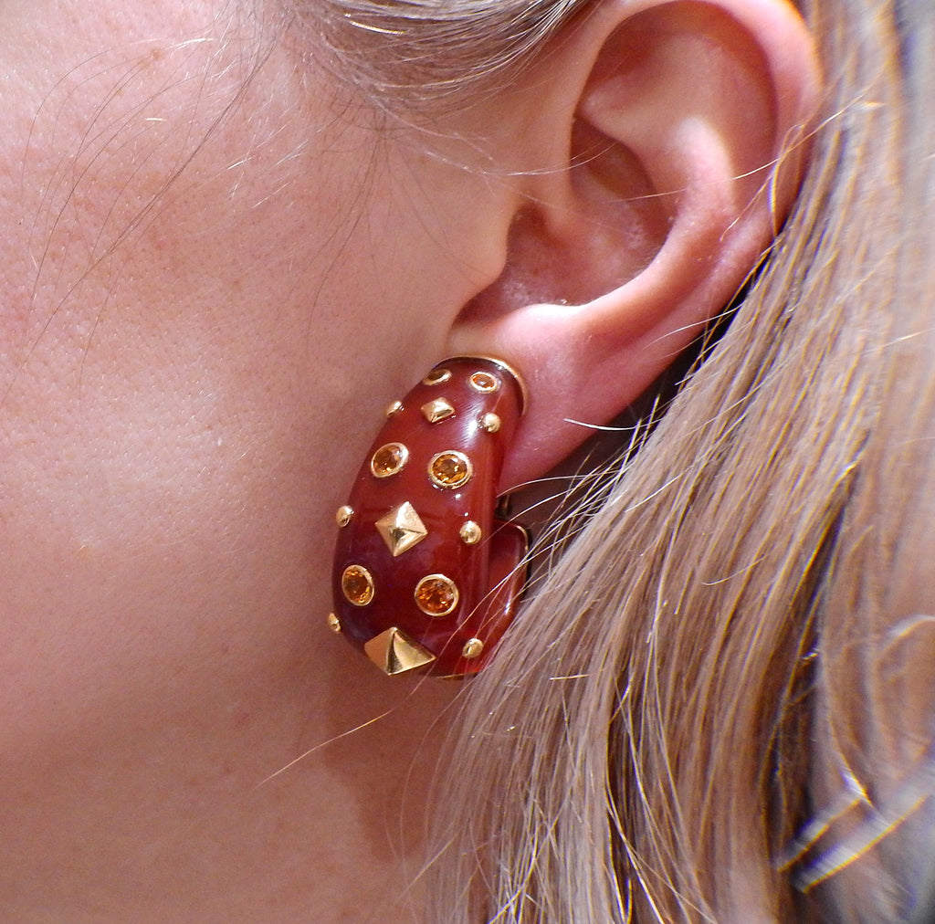 thumbnail image of Trianon Carnelian Citrine Gold Half Hoop Earrings