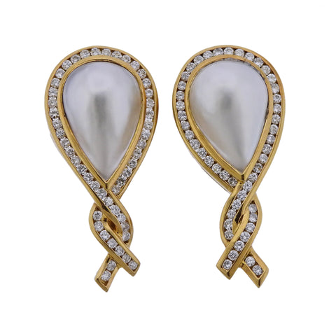 image of Charles Krypell Pearl Diamond 18k Gold Earrings