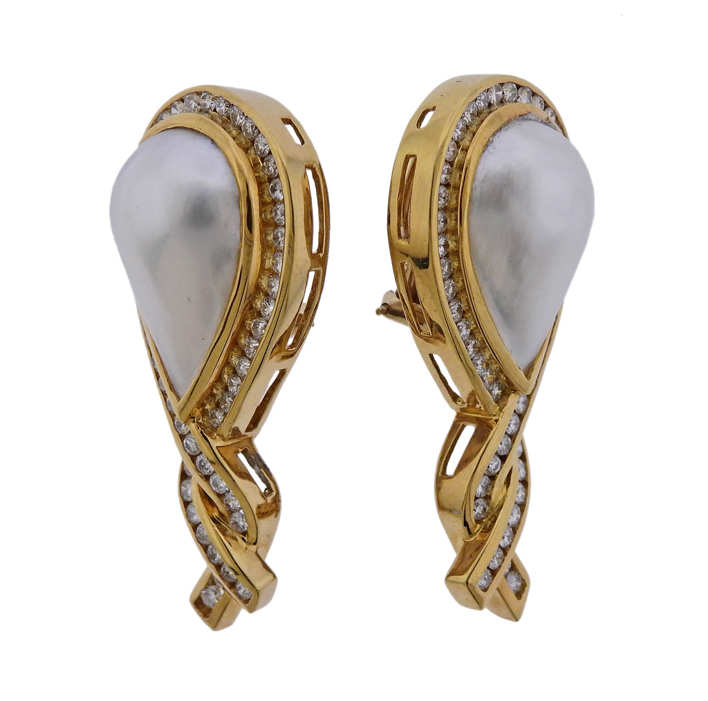 thumbnail image of Charles Krypell Pearl Diamond 18k Gold Earrings