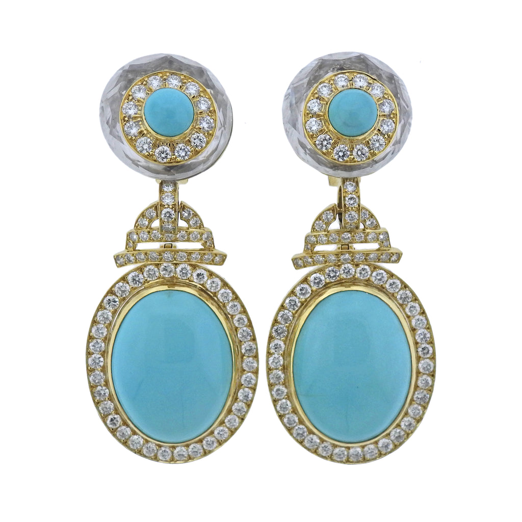 thumbnail image of David Webb Turquoise Diamond Crystal Gold Platinum Drop Earrings