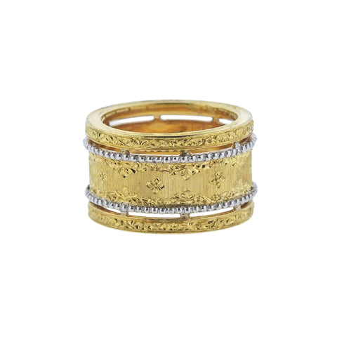 image of Buccellati Prestigio White Yellow Gold Wide Band Ring