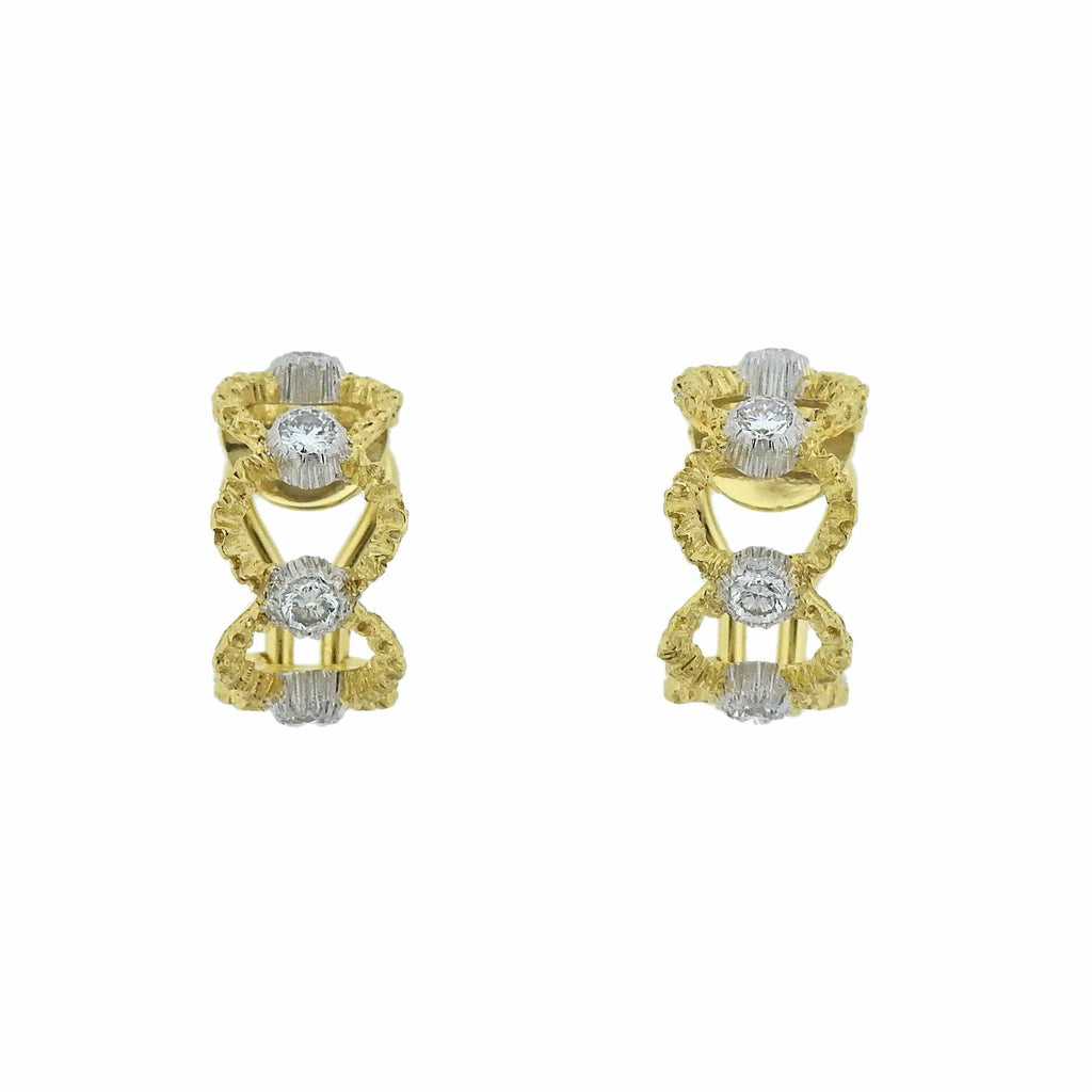 thumbnail image of Buccellati Prestigio Diamond Gold Openwork Hoop Earrings