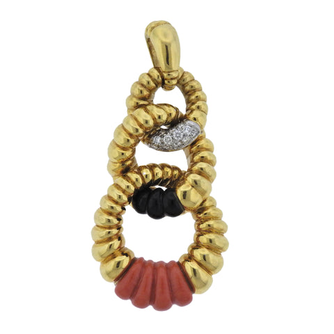 image of Kutchinsky Diamond Coral Onyx Gold Pendant