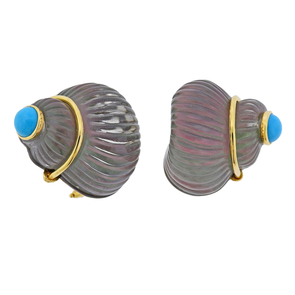 thumbnail image of Trianon Carved Crystal Mother of Pearl Turquoise Shell Gold Earrings
